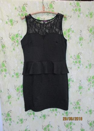 Чёрная пятница шикарное нарядное платье с баской/с гипюром/большой размер uk 18/50-52