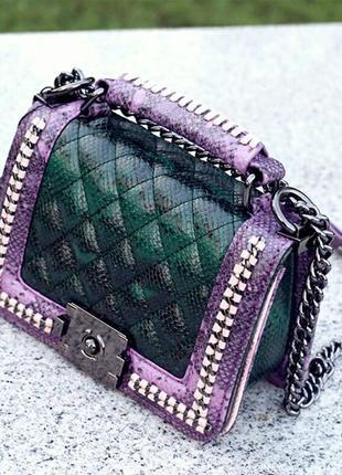 Стильная, маленькая сумочка, принт рептилия