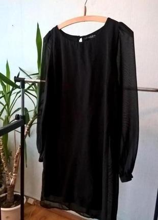 Черное шифоновое платье под поясочек