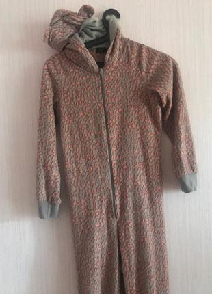 Пижама на молнии с капюшоном с ушками