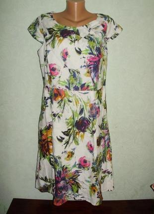 Красивое платье для леди/цветочный принт/100% лен/батал/18/52 размера от m&s