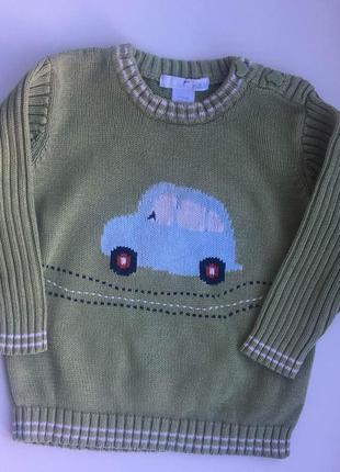 Светр/свитер зеленый, салатовый на мальчика с машинкой 9-12м 80см