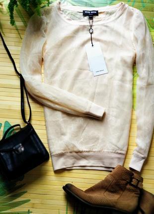 Нежная нюдовая блуза