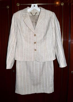 Льняной костюм, юбка, пиджак, жакет, размер 36-38