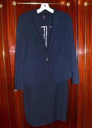 Классический костюм marks & spencer, жакет, пиджак, юбка, размер 8-10