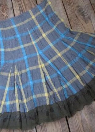 Плиссированная юбка на хлопковом подкладе, р. xs, интересная оборка с вышивкой