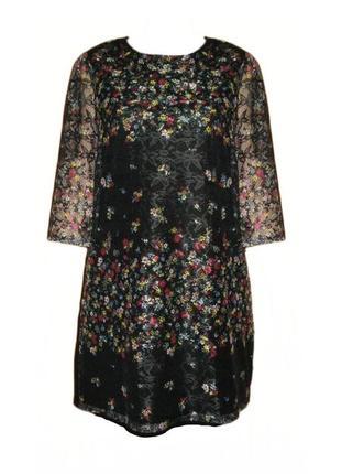 Платье свободного кроя 3/4 рукав цветочный принт сетка сеточка вискоза tu