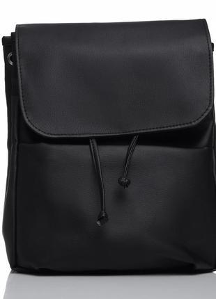 b03b75153704 Дизайнерский женский рюкзак чёрный с экокожи для ноутбука, учебы, прогулок