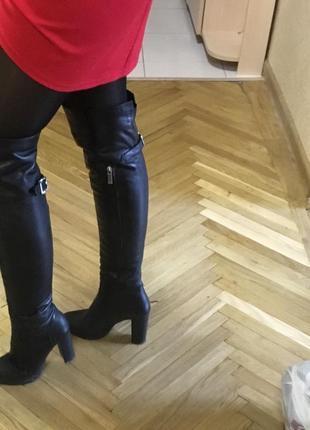 Крутые кожаные сапоги натуральная кожа ботфорты сапожки кожа каблук