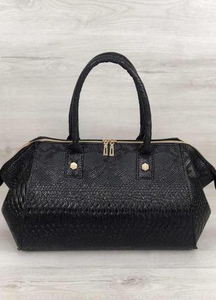 Черная большая деловая дамская сумка саквояж под кожу змеи