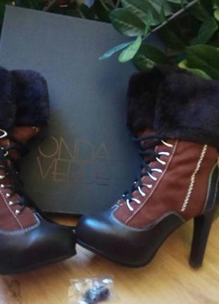 Высокие зимние ботинки onda verde. натуральная кожа + цигейка. 36 размер.