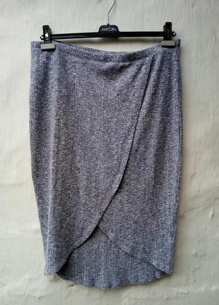 Крутая модная трикотажная меланжевая юбка в рубчик,впереди запах,большой размер,вискоза.