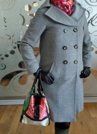 Стильное двубортное пальто dolce donna, 100 шерсть, р. l