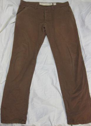Зеленые коттоновые коттон зауженные узкие брюки джинсы new look w34 полуобхват 46см