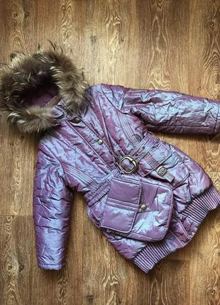 Пальто зимнее пуховик на девочку 6-7лет danilo данило