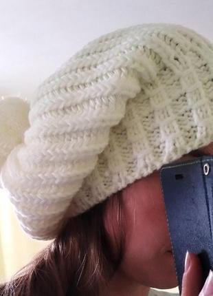 🎄абсолютно новая шапка зимняя молочная белая от molegi оверсайз2