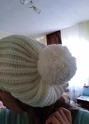 🎄абсолютно новая шапка зимняя молочная белая от molegi оверсайз4