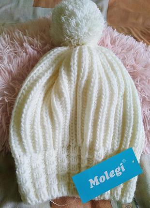 🎄абсолютно новая шапка зимняя молочная белая от molegi оверсайз
