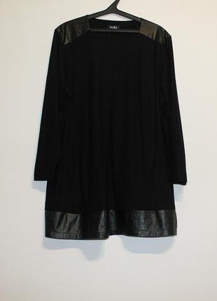 Шикарное свободное платье с кожаной отделкой и карманами