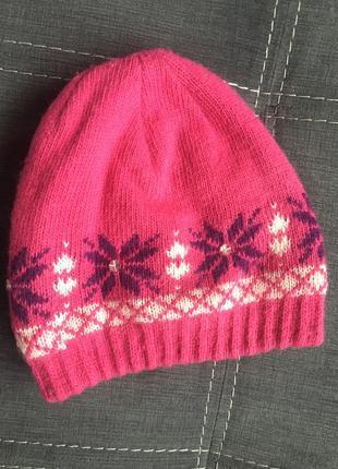 Теплая зимняя шапка на девочку 3 лет