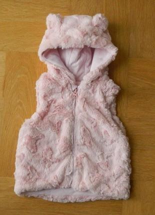 86-92 см nutmeg гламурная с ушками розовая меховая безрукавка жилетка.