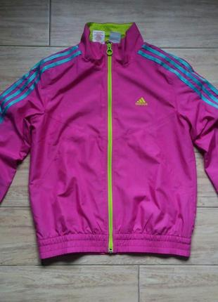 Куртка спортивная розовая adidas фирменная бомпер пальто бойфренд