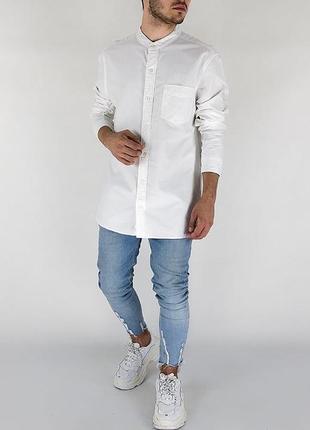 Все размеры! белая мужская рубашка без воротника { стойки }1
