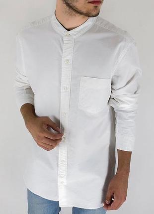 Все размеры! белая мужская рубашка без воротника { стойки }2