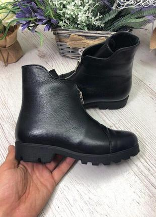 36-41 рр деми/зима ботинки, ботильоны черные натуральный замш, кожа2