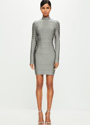 Шикарное бандажное платье со стразами missguided