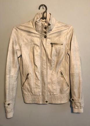 Бежевая кожаная куртка курточка демисезонная осенняя экокожа xs