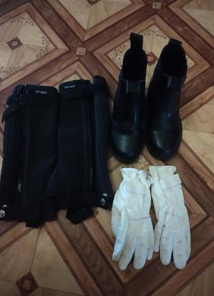 Краги ботинки перчатки для верховой езды конного спорта детские 28