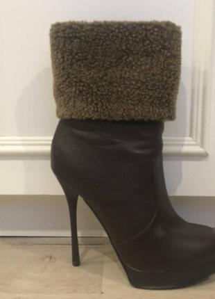 Туфли ботинки тёплые кожаные на высоком каблуке