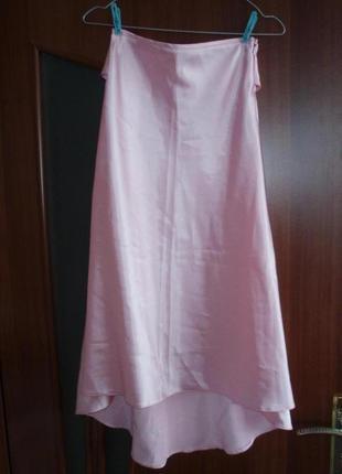Атласная юбка high-low, юбка со шлейфом
