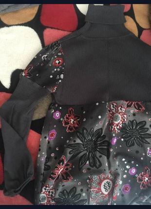 Гольф кофта в рубчик с цветами под горло