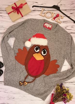 Красивый свитер меланж с птичкой 12-16