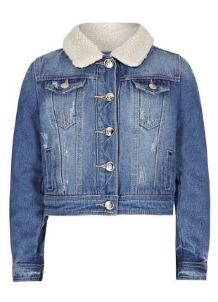 Новая джинсовая курточка на меху для девочки, sugar squad, 12132709