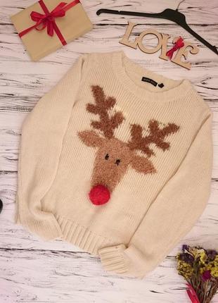 Красивый свитер с оленем 10-14