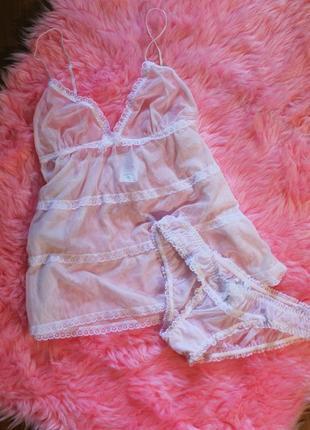 Сексуальный комплект нижнего белья с кружевом для сна/пеньюар/ набор майка, трусики h&m