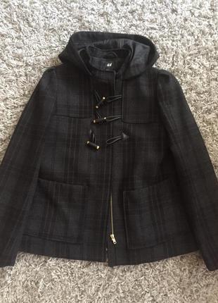Короткое пальто в клетку с капюшоном, полупальто, куртка h&m, пальто шерстяное