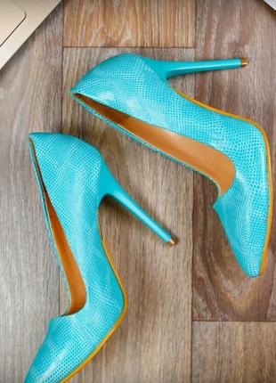 Голубые бирюзовые туфли лодочки