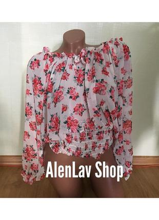 Новая красивая легкая блуза с открытыми плечиками и рукавами с яркими розами