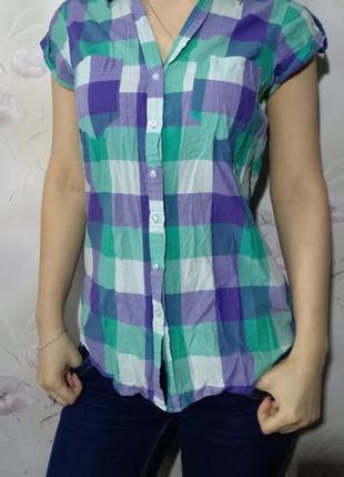 Рубашка с коротким рукавом h&m, 100% хлопок
