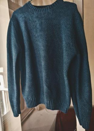 Светр світер світр свитер вязаный теплый синий