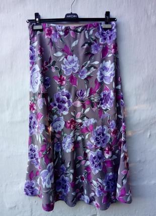 Красивейшая нежная легкая юбка в принт цветы румыния,а-силуэт,колокол,вискоза.