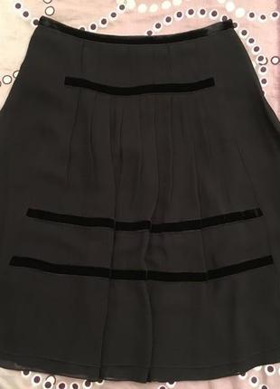 Легкая шифоновая юбка с бархатными полосками