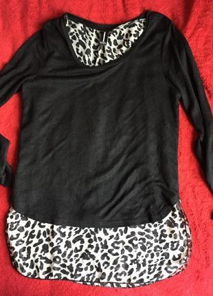 Кофта, свитер чёрная с леопардовым принтом