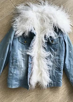 Джинсовая куртка джинсовка с мехом ламы рекс утеплитель