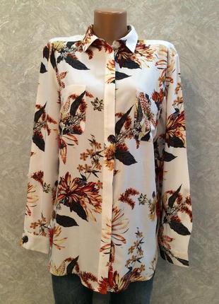 Блуза рубашка в цветы размер 12-14 warehouse