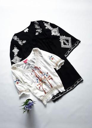 Натуральная белоснежная блуза с вышивкой monsoon